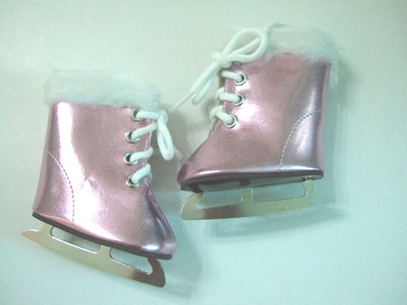 Pink Metallic Furry Ice Skates /