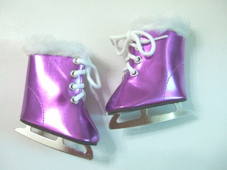 Purple Metallic Furry Ice Skates /