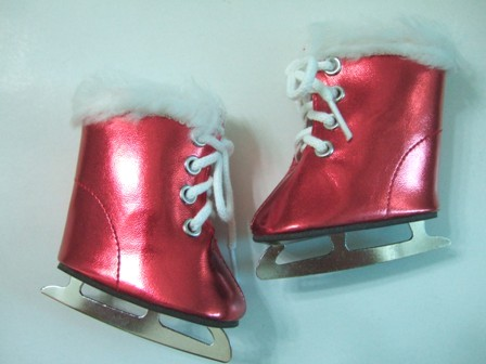 Red Metallic Furry Ice Skates /