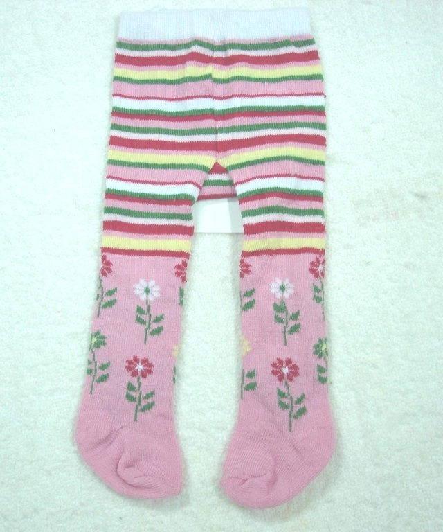 Pink Flower And Stripe Tights