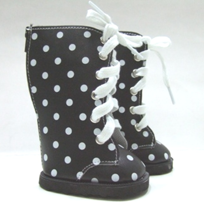 Black Dot Knee High Vinyl Boot