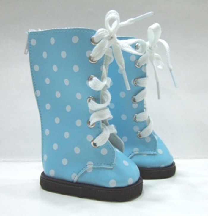 Blue Dot Knee High Vinyl Boot