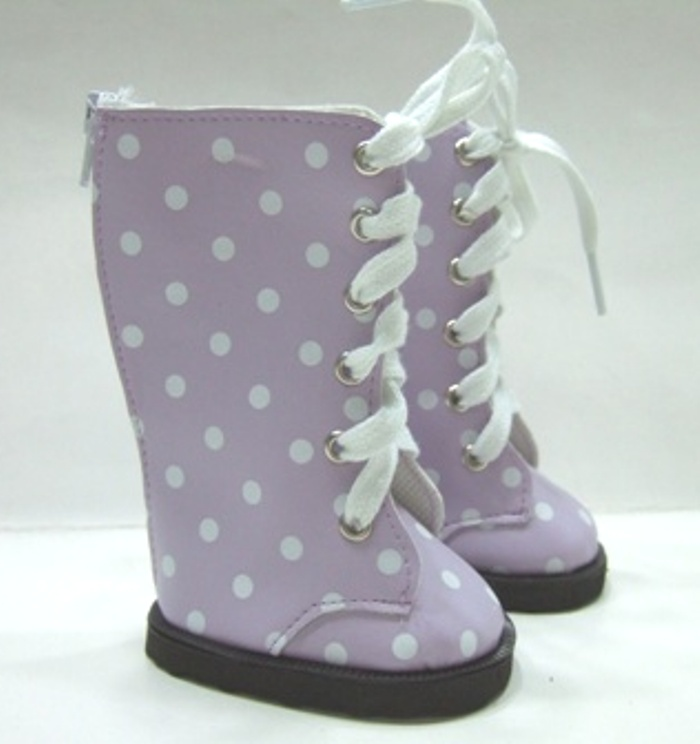 Lavender Dot Knee High Vinyl Boot