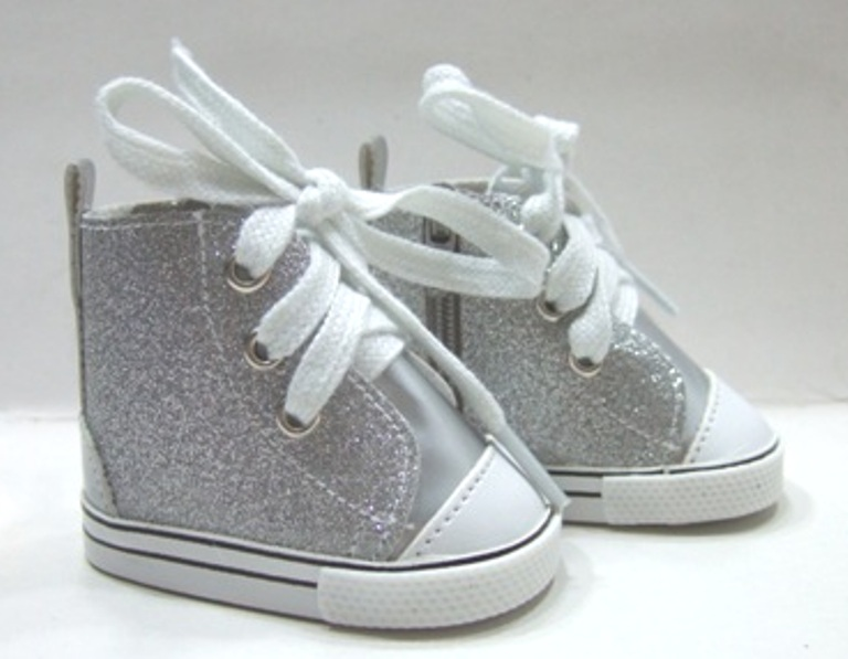 Silver Glitter Tennis Shoes
