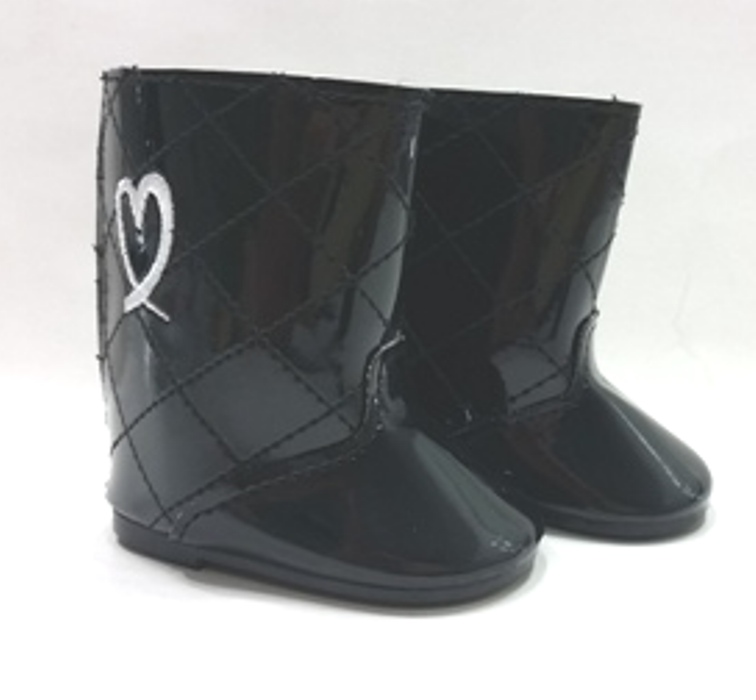 Black Padded Vynal Boots
