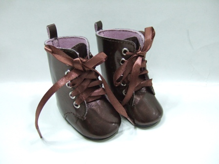 Brown Shinny Ribbon Lace Boot