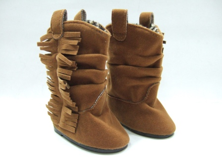 Brown Fringed Slouch Boot