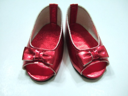 Red Matallic Open Toed Shoe/