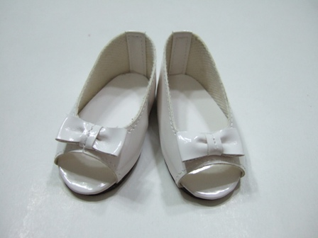 White Matallic Open Toed Shoe/