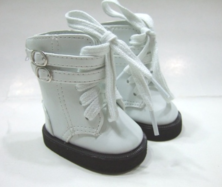 White Double Buckle Lace Up Boot