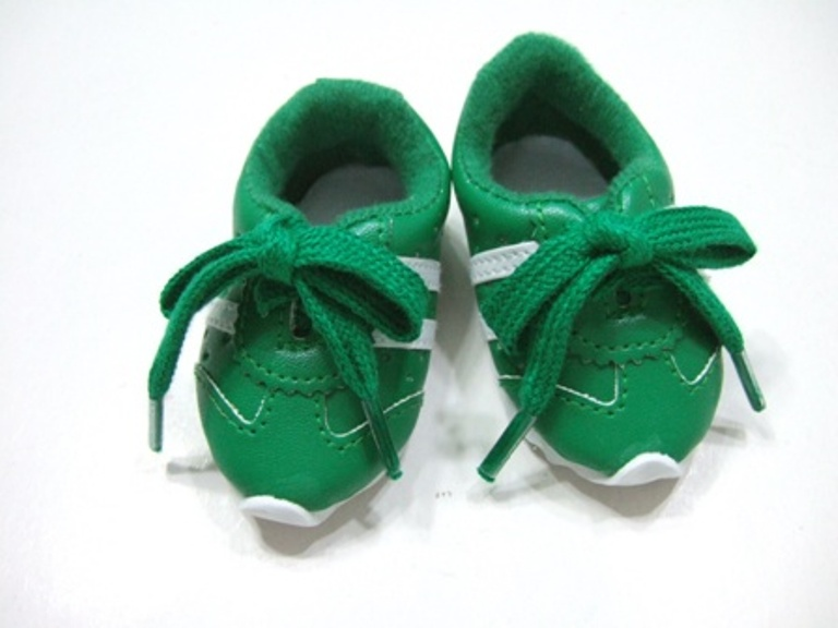 OFFER Green Leather Look Tennis Shoe