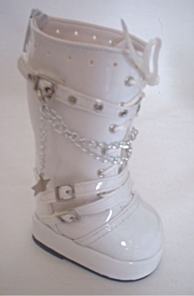 White Tall Vinyl Boots /