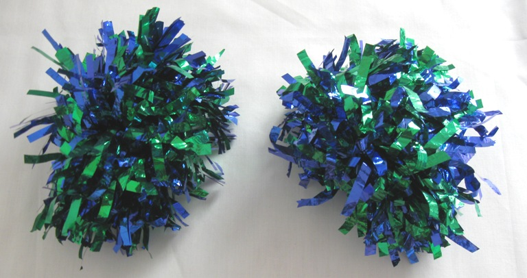 Set of 2 pom poms. Metallic Blue-Green