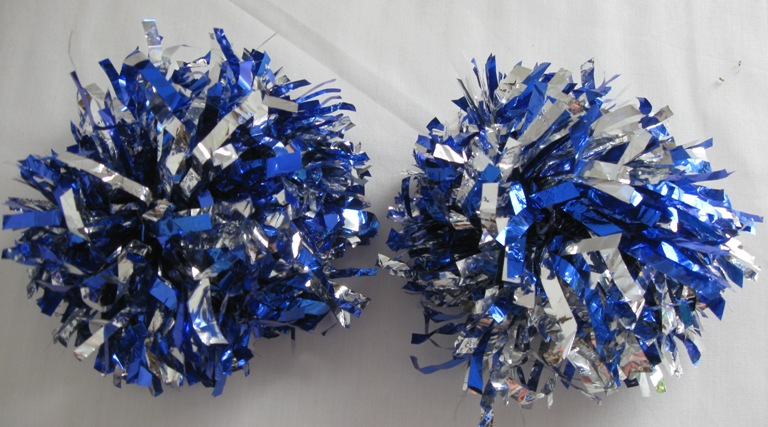 Set of 2 pom poms. Metallic Blue-Silver