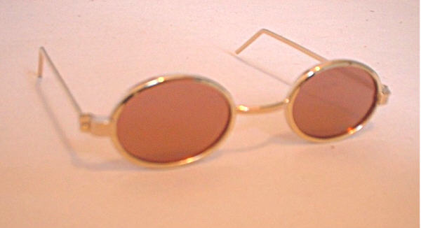 Brown Glass Oval Sunglasses