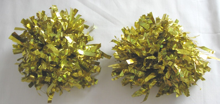 Set of 2 pom poms. Metallic Gold