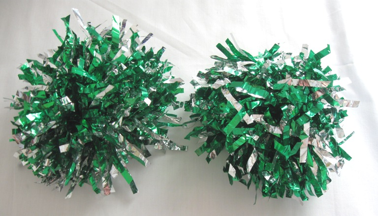 Pair Of 2 green-silver Pom Poms