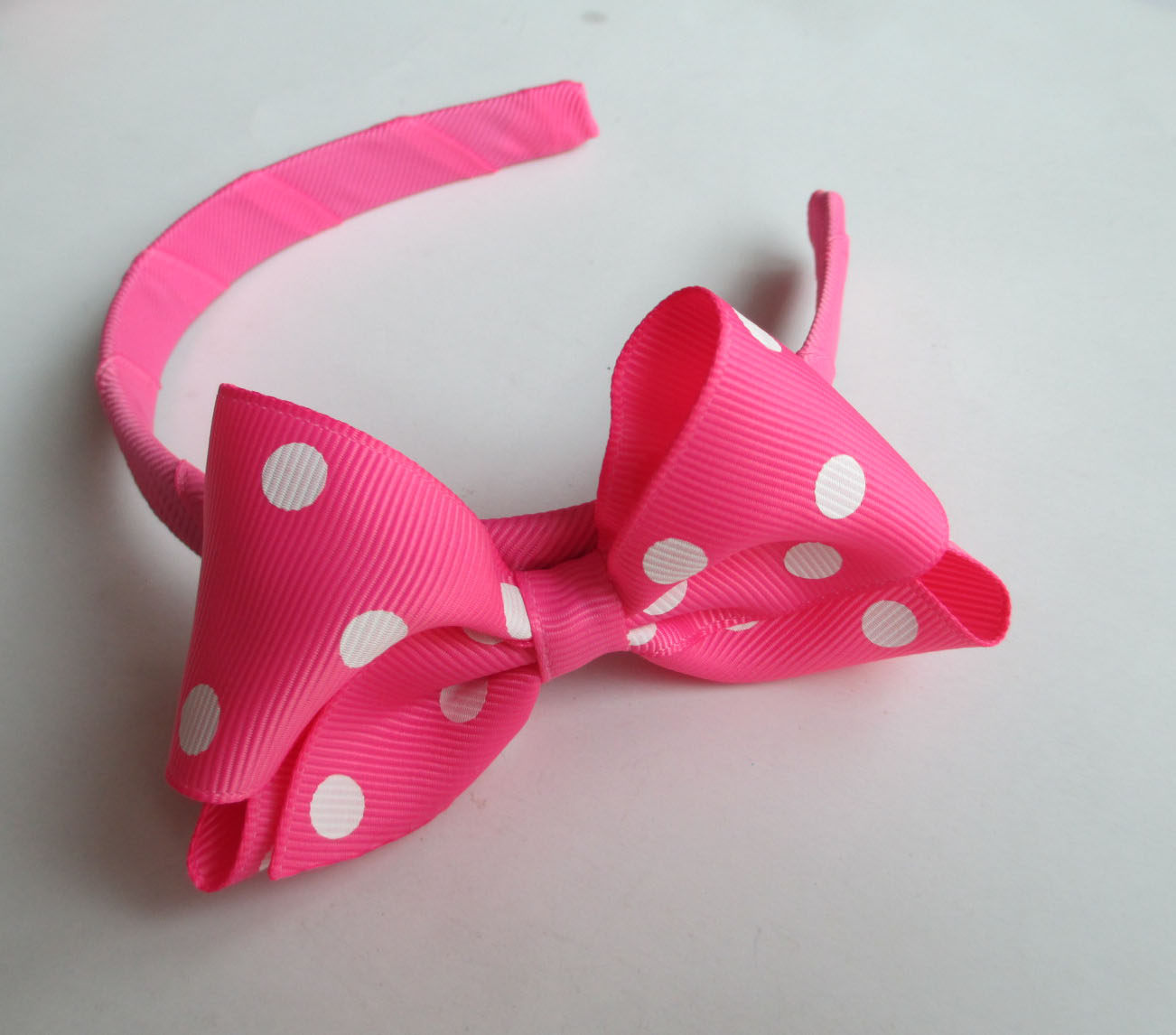 Pink Polka Dot Hair Band