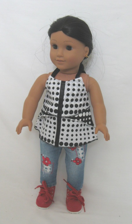 Black and White Polka Dot Jean Set