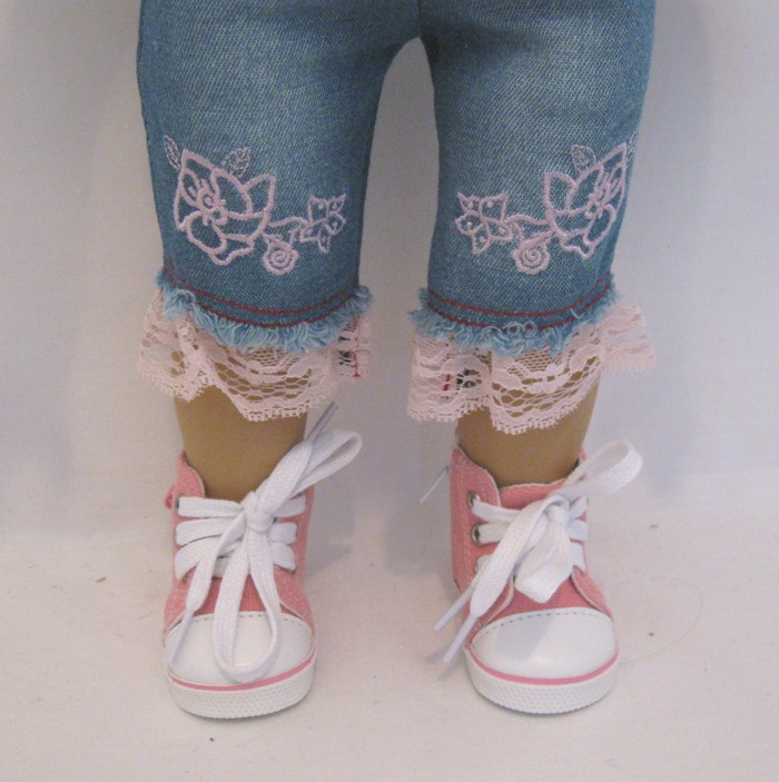 Pink Embroidered Jean Set