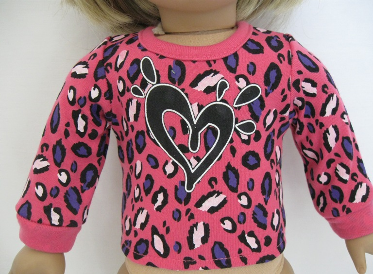 Hot Pink Leapard Heart Top