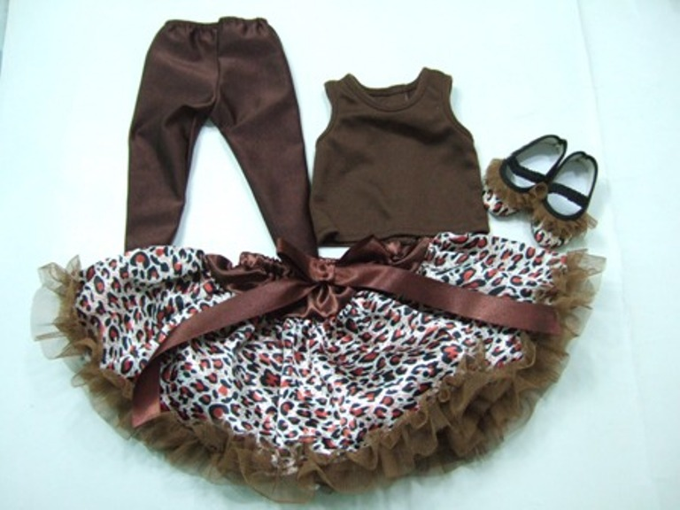 Brown Cheetah Skirt Set/
