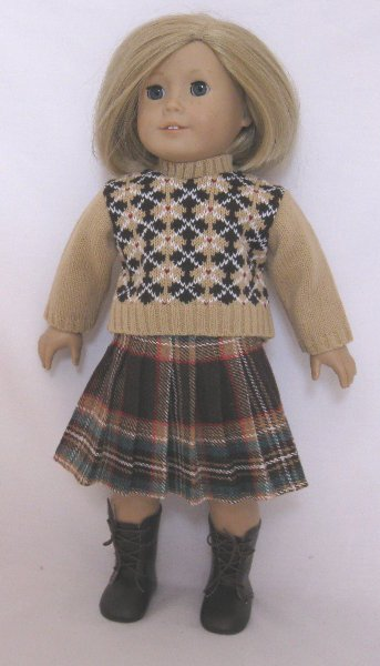 Argyle Sweater and Plaid Skirt Set