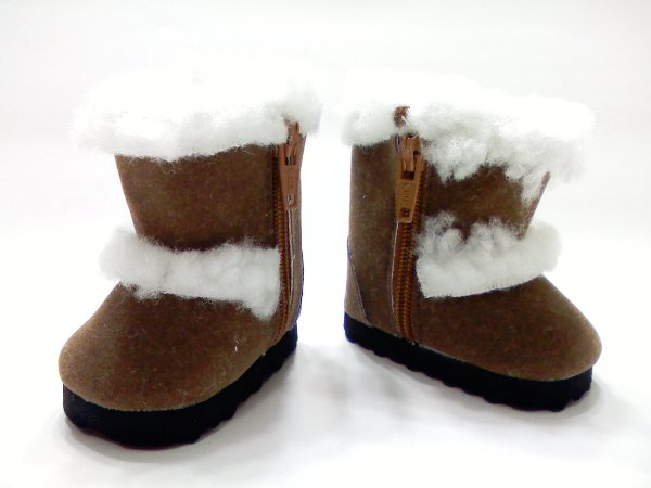 Brown Faux Shearling Boots /