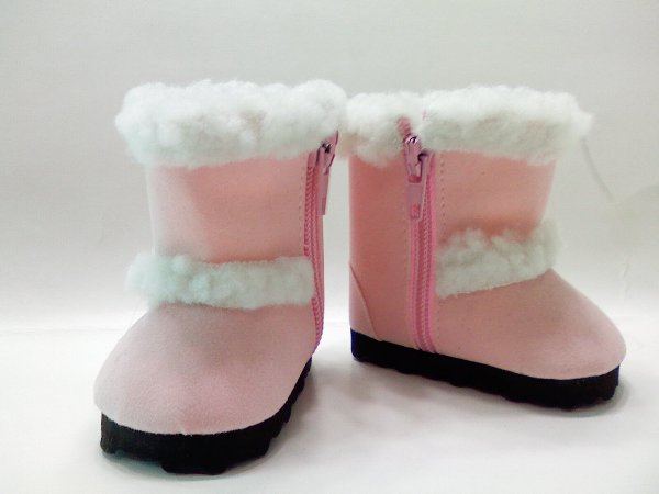 Pink Faux Shearling Boots /