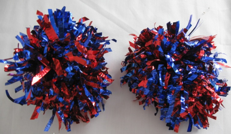 Set of 2 pom poms. Matallic Red-Blue