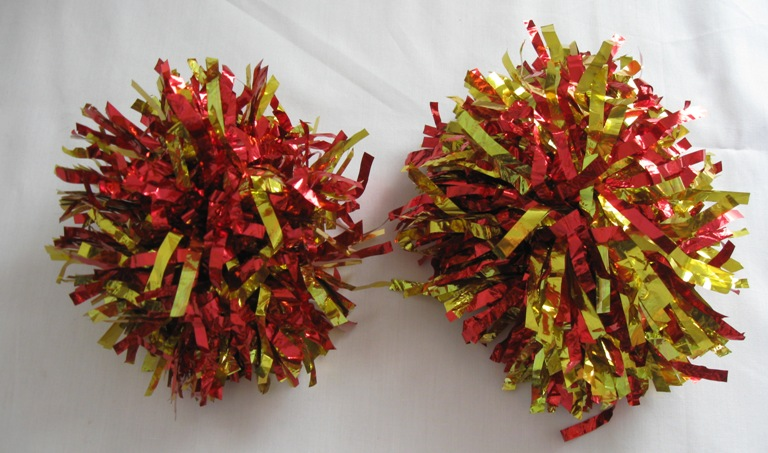 Set of 2 pom poms. Metallic Red-Gold