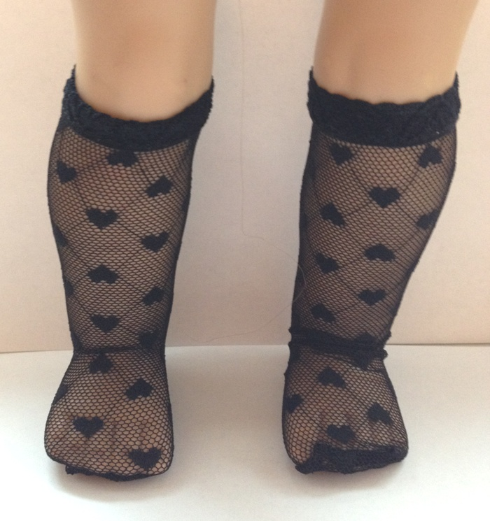 Black Heart Mesh Socks