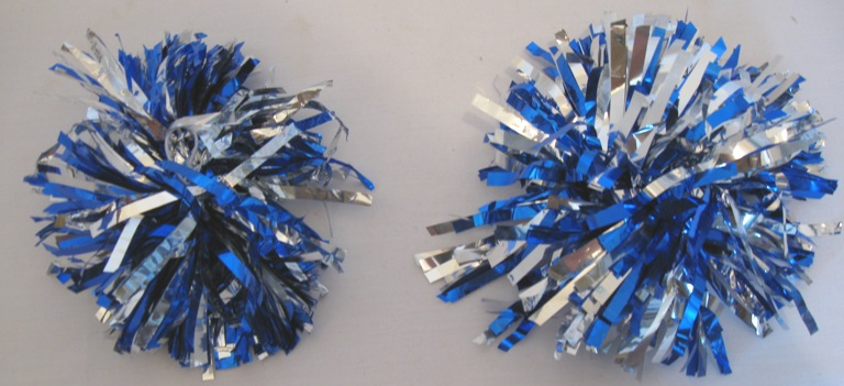 Set of 2 Blue and silver Pom Poms