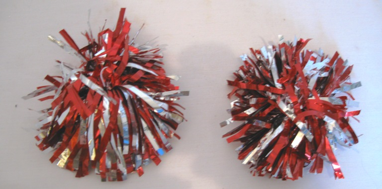 Set Of 2 Red And silver Pom Poms