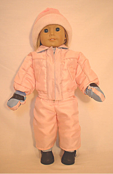Pink Skiing Outfit With Mittens /