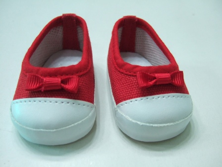 Red Canvas Slip-On Shoes /