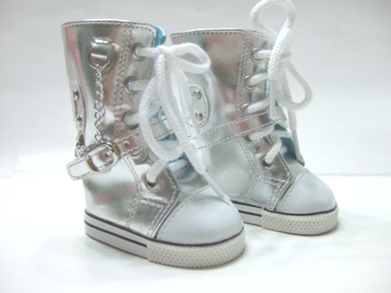 Silver Knee High Sneaker Boots /