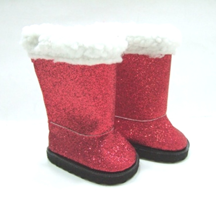 Red Glitter High Boots