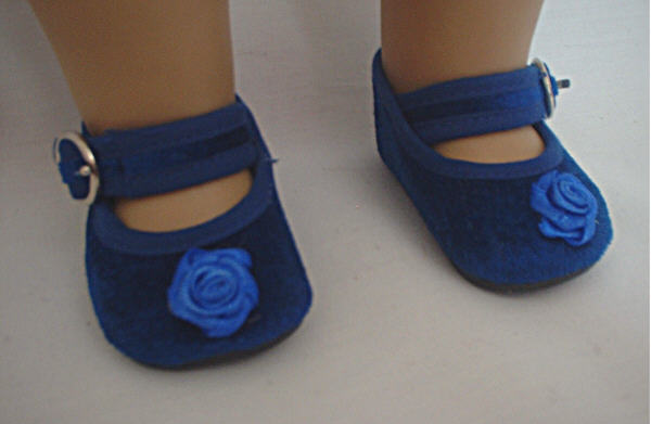 Blue Velvet Rose Shoe /