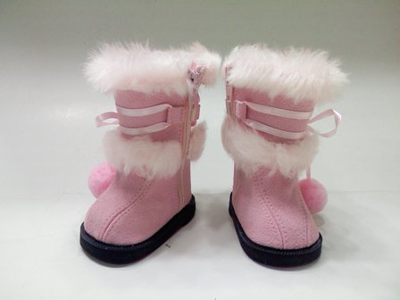 Pink Boots with White Fur /