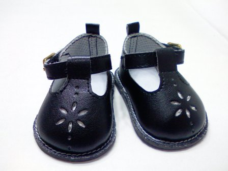 Black Flower Mary Janes /