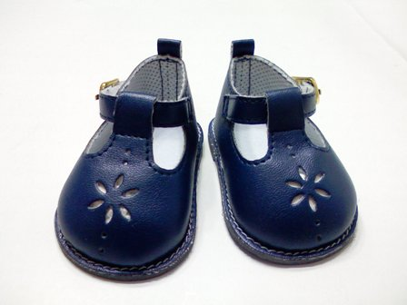 Navy Flower Mary Janes /