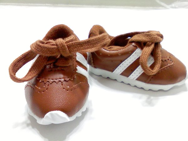 Brown Leather Look Tennis Shoe /