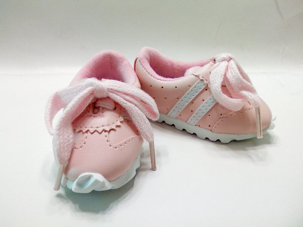 Pink Leather Look Tennis Shoe /