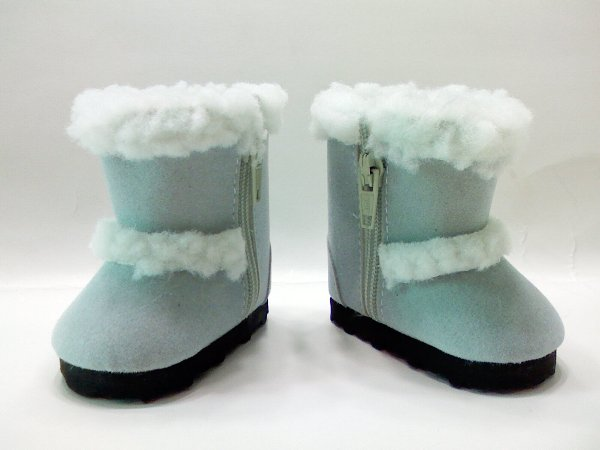 Baby Blue Faux Shearling Boots /